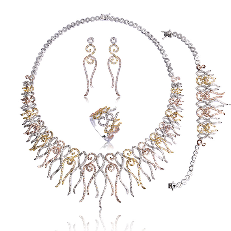 Madrry Luxury Copper Bridal Wedding Jewelry Sets 3 Color Necklace Earrings Ring Bracelet For Women Collier Brinco Anillo Schmuck a suit of gorgeous rhinestoned flower necklace bracelet earrings and ring for women