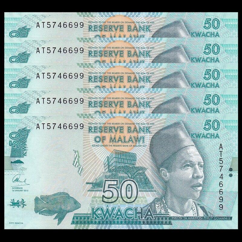 2016 P-64 New Unc Malawi 50 Kwacha