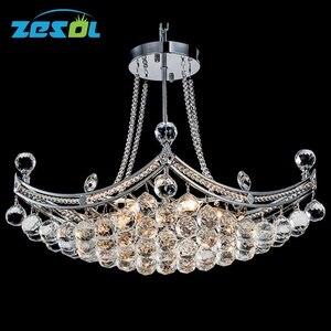 ZESOL Modern Crystal Chandelier Lighting Ceiling Lamp Transparent Color For Living Room