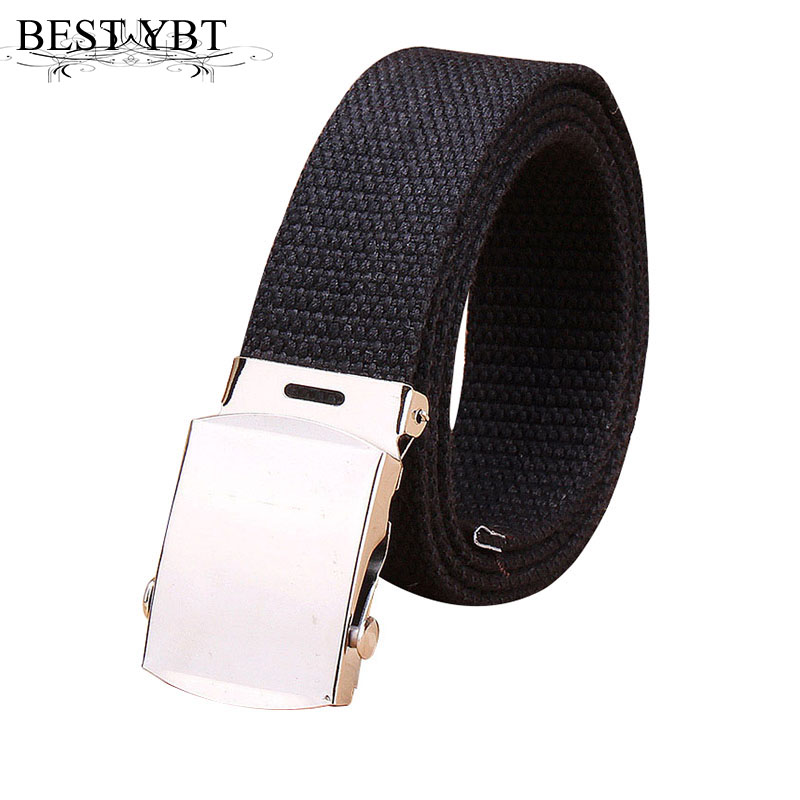 Best YBT Unisex Canvas Military Tactics Cowboy Pants Belt Iron Automatic Buckle Casual High Quality Unisex Belt