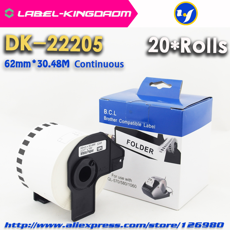 20Rolls Compatible DK 22205 Label 62mm 30 48M Continuous Compatible for Brother Printer QL 570 700