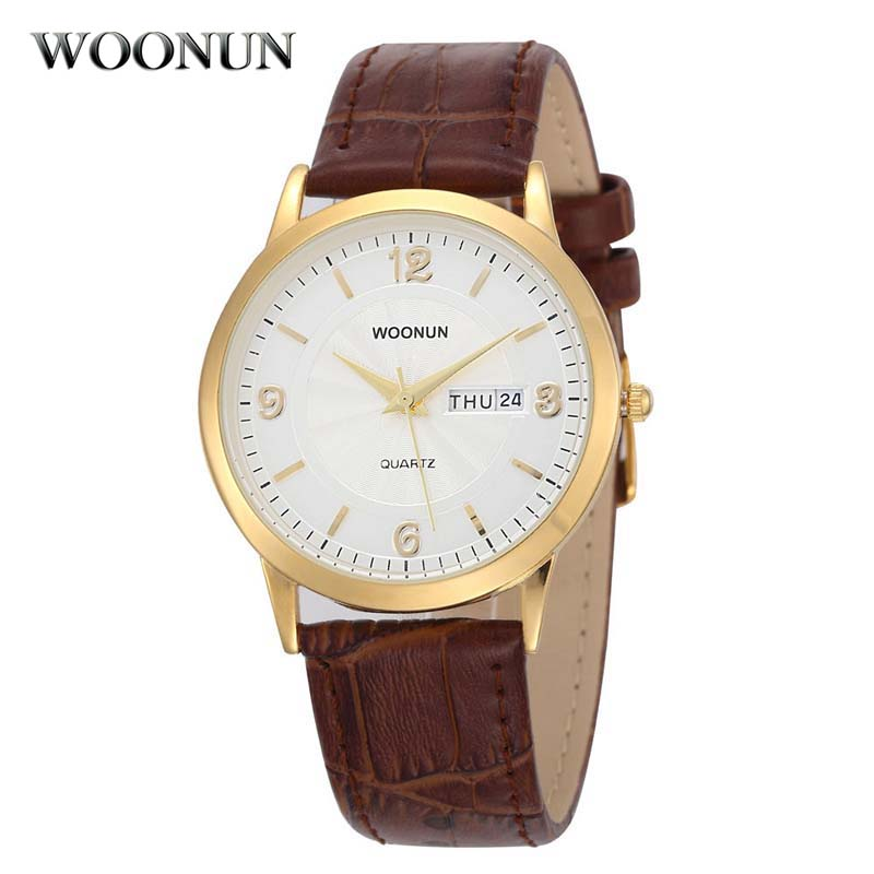 WOONUN Men Watches Top Brand Luxury Business Men Leather Band Date Day Quartz Wrist Watch Thin Mens Watches relogio masculino mens business dress quartz watch men mg orkina classic auto day date black leather japan quartz movement clock men wrist watches