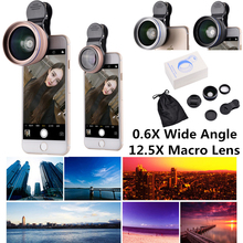 0.6X Wide Angle 12.5X Macro Lens Camera Mobile Phones clip Lenses Lentes For iPhone Xiaomi motorola Samsung Phone Microscope
