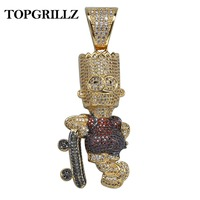 TOPGRILLZ Shiny Skateboard Cartoon Doll Pendant Necklace Gold Color Iced Out Cubic Zircon Men's Hip Hop Jewelry Choker Gifts