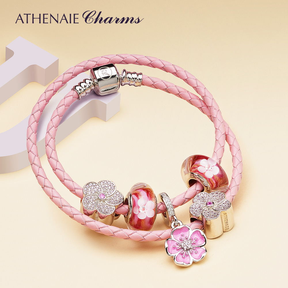 ATHENAIE 34CM Pink Double Braided Leather 925 Sterling Silver Bracelet with Plum Blossom Pendant and Five-Petaled Flowers blossom flowers