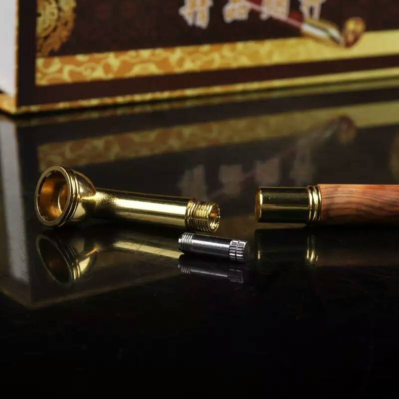 US $14 24 25% OFF Taihang Cedar Classic Fashion Durable Long Tobacco Pipe  Resin Smoking Pipe Wood And Metal Pipe Cigar Tube Herb Snuff Box Gift-in
