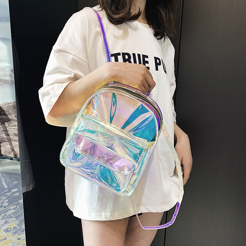 Mini Travel Bags Silver Laser Backpack Women Girls Shoulder Bag PU Leather Holographic Backpack School Bags For Teenage Girls