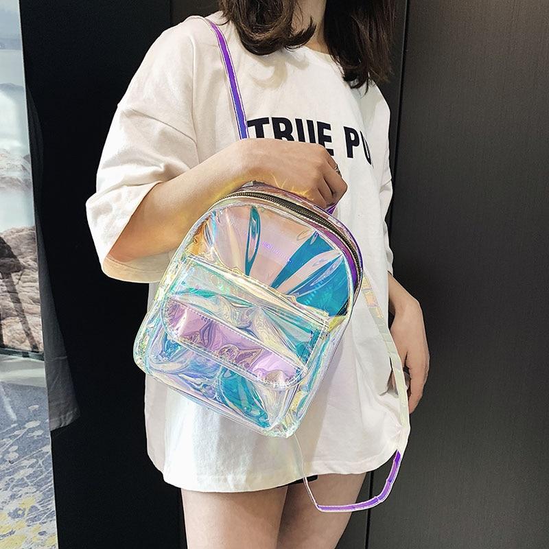 Mini Travel Bags Silver Laser Backpack Women Girls Shoulder Bag PU Leather Holographic Backpack School Bags For Teenage Girls