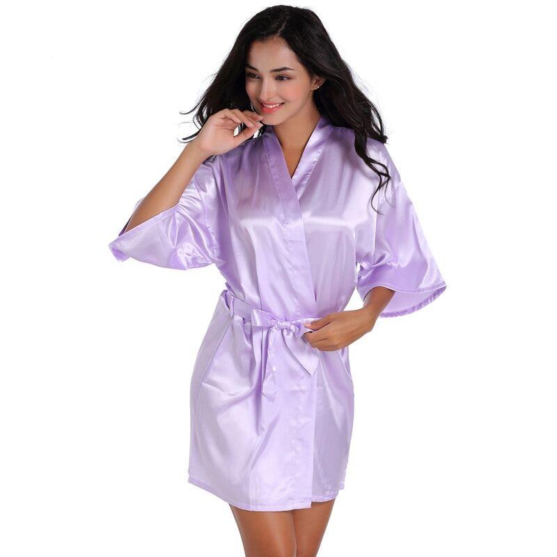 Light Purple Summers Women Short Kimono Robe Bathrobe Sleepwear Faux Silk Bath Gown Nightgown Mujer Pijama Size S M L XL XXL 022