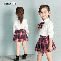 2017 Fall Children S Edition Pure Color Neck Shirt Plaid Skirt Girl Set