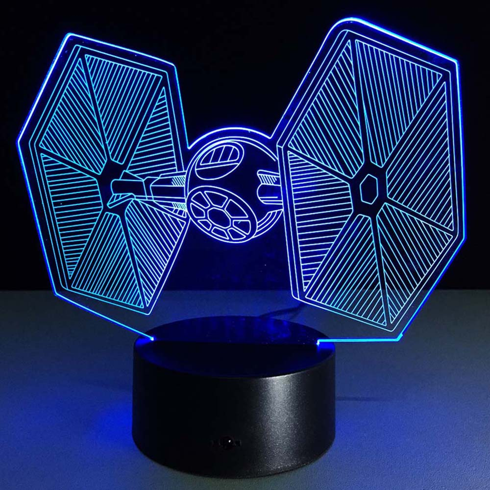 Star Wars X-Wing TIE Fighter Lamp 7 Color Changing Illusion Visual Night Light Festival Lantern Party Favor Christmas Decoration