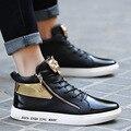 Marca de fábrica famosa de los hombres zapatos casuales de alta superior al aire libre del metal del oro zapatos entrenadores cestas llanura macho adulto masculino esportivo XK121904