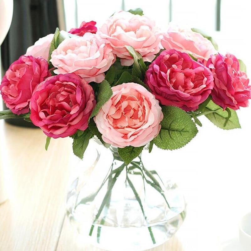 10 Pcs Silk Artificial Flower Night Rose for Wedding Wall Bouquet Bridal