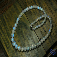 Natural Moonstone Strong Blue Light Round Beads Necklace AAAA 6 12mm