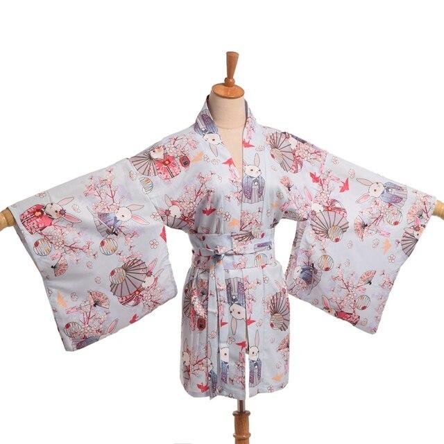 Kawaii Японский юката Кимоно пальто Симпатичные Женщины Onegai Usagi Молиться Кролик Мацури Blossom Банни Cummer куртка с поясом для летнего ношения