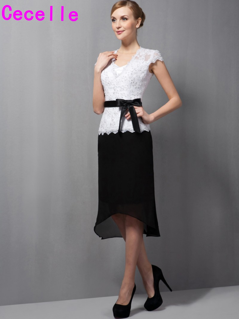 Black And White Short Knee Length High Low Lace Chiffon