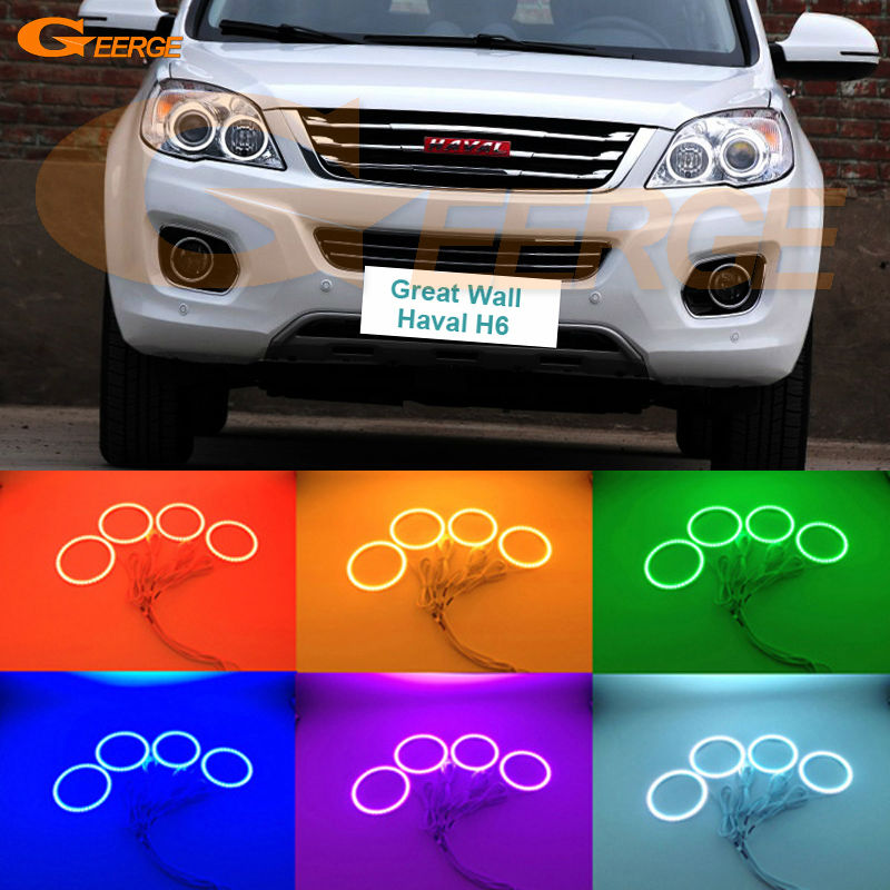 For Great Wall Haval H6 2011 2012 2013 2014 2015 Excellent Multi-Color Ultra bright RGB LED Angel Eyes kit Halo Rings for volkswagen vw amarok 2011 2012 2013 2014 excellent angel eyes multi color ultra bright rgb led angel eyes kit halo rings