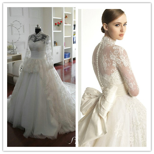 Real Zuhair Murad Wedding Dresses High Neck Long Sleeve Lace Ball Gown Bridal Vestido De