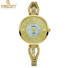 2015 Luxury Brand KINGSKY Bracelet Watch Women Dress Watch Quartz Analog Flower Solid Ladies Wristwatch Dropship