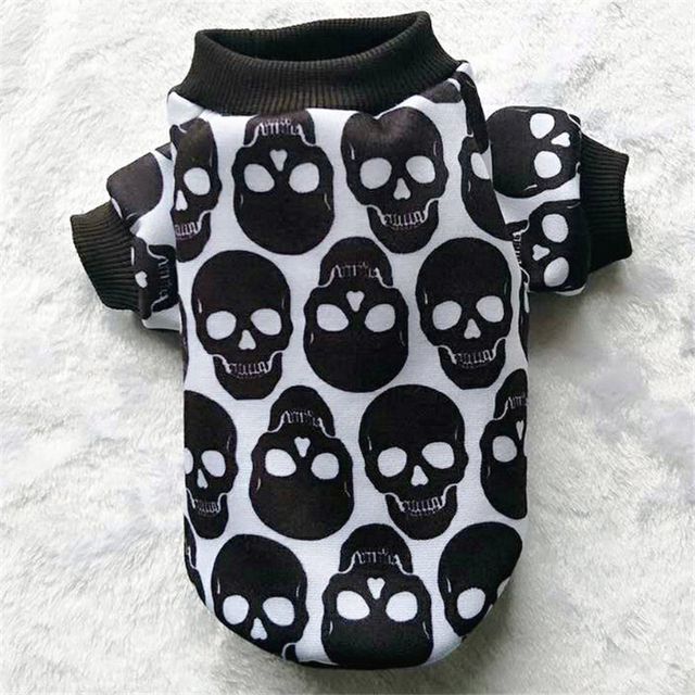 Skull Dog Hoodie Autumn Winter Dog Clothes for Small Dog Pet Coat Jacket Outfit shih tzu Yorkies Clothes Puppy Clothing