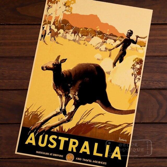 Australia canguro mapa vintage pop Trave cartel decorativo retro ...