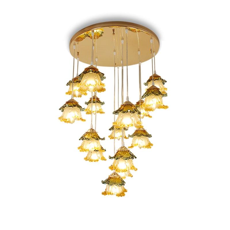 Европейский Гостиная Ресторан Стекло люстра Современные светодиодные люстры простой лестница огни пастырской капуста лампы освещения