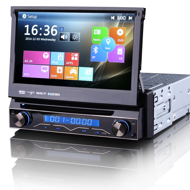 "7"" Touch Screen 1 Din Car DVD Single Din Car Radio One Din Car GPS with Car Recorder Input & Detachable Front Panel"