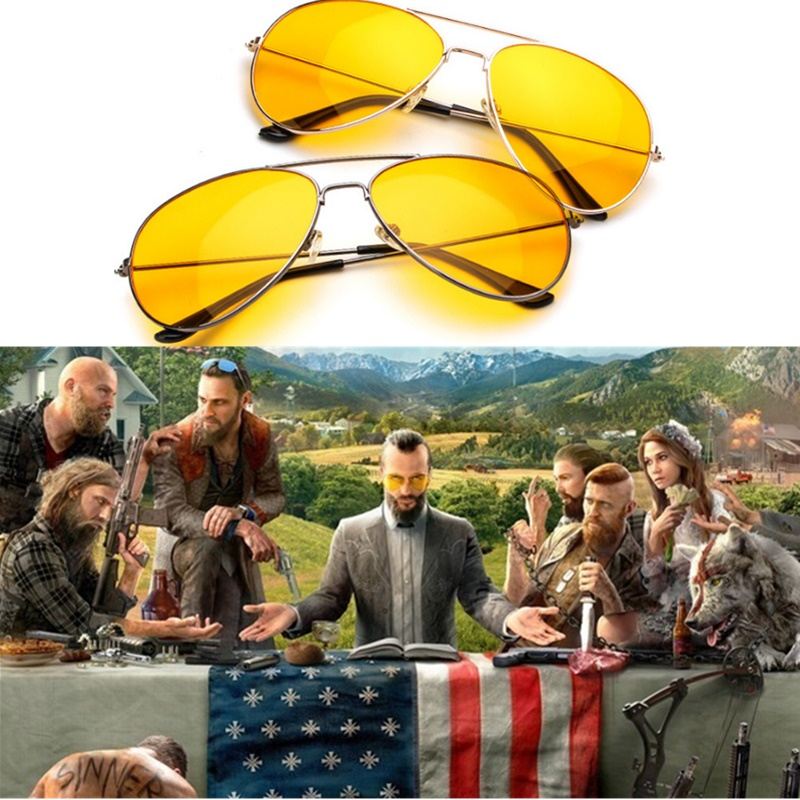 Game FAR CRY 5 Cosplay Prop glasses Sunglasses Joseph Seed Eyewear Yellow Accessories Driver glasses