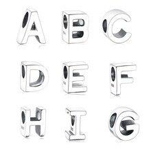 Стиль 925 серебряная буква Шарм бусины подходят Pandora браслет Подвеска «сделай сам» Изготовление ювелирных изделий