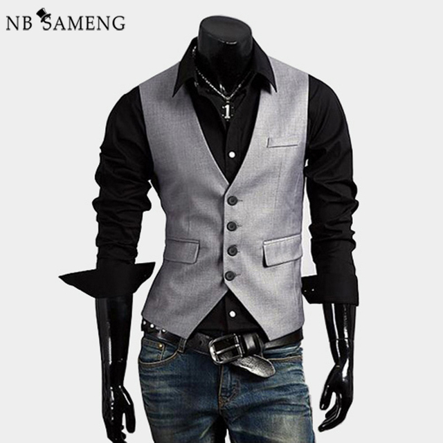 2017 High Quality Men's Vest Coat V-collar Slim Casual Vest Coat Male Waistcoat Business Suit Vest Jacket