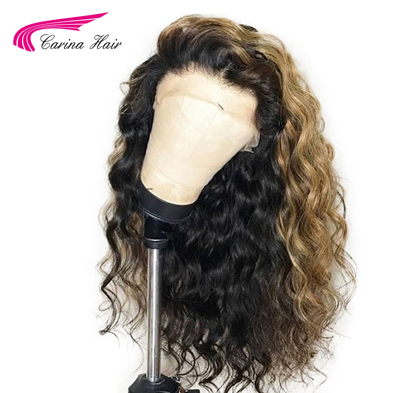 Human-Hair-Wigs Lace-Front Pre-Plucked Remy Ombre Brazilian Wavy 130-Density Carina