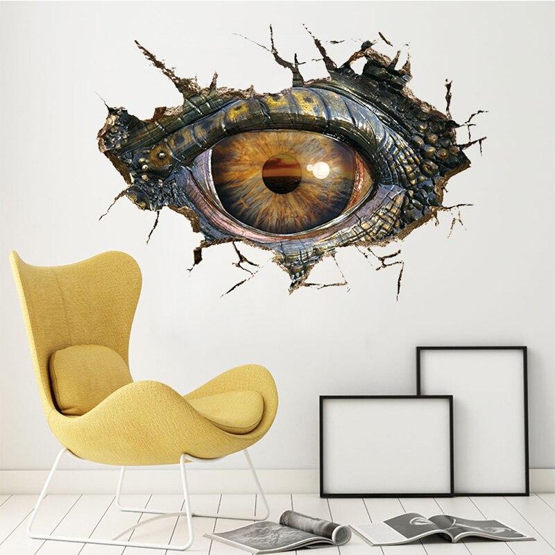 Lumiparty 3d Dinosaur Eye Wall Sticker Removable Break