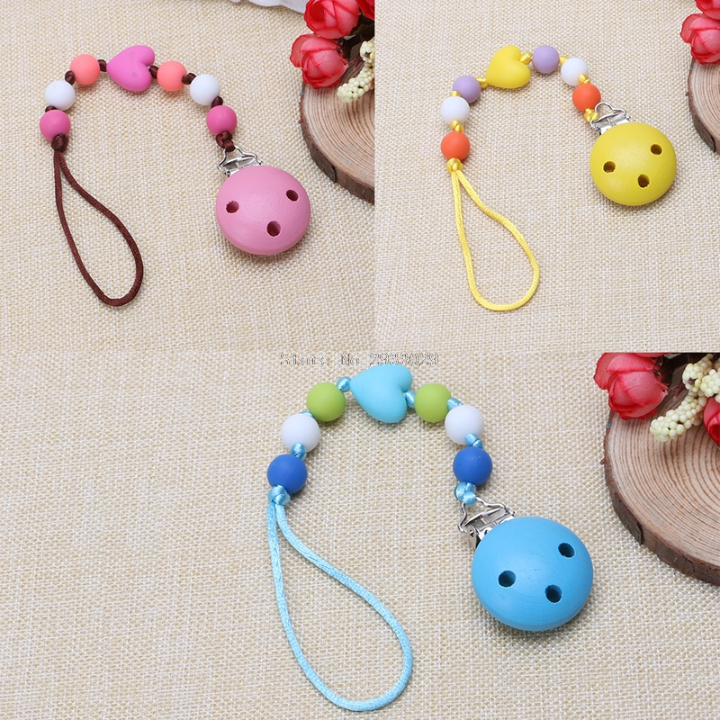 Online get cheap baby gifts personalized aliexpress alibaba child infant baby pacifier wood clips holders diy personalized baby gift b116china negle Images