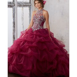 Crystal halter quinceanera dress 2017 pick up waves keyhole corset back party dress debutante ball gown.jpg 250x250