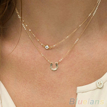 Womens Crystal U Shape Charms Golden Chains Pendant Necklace 1T1C