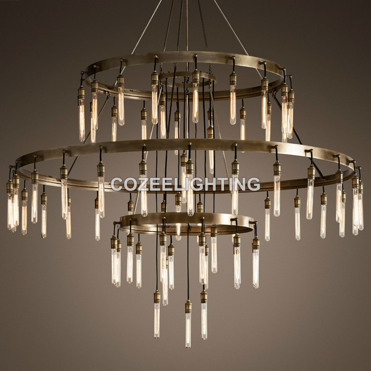 Novi veliki hotelski lestenec za osvetlitev LED Edison žarnica - Notranja razsvetljava - Fotografija 6