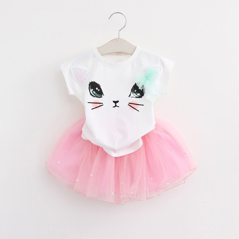 Girls Clothing Sets 2018 New Summer O-Neck Short sleeve cute cat T-Shirt+dress 2 Pcs Kids Clothing Sets Children Clothing