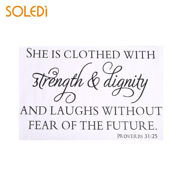 Wall Decal She Is Clothed With Strength Dignity Quote Decor