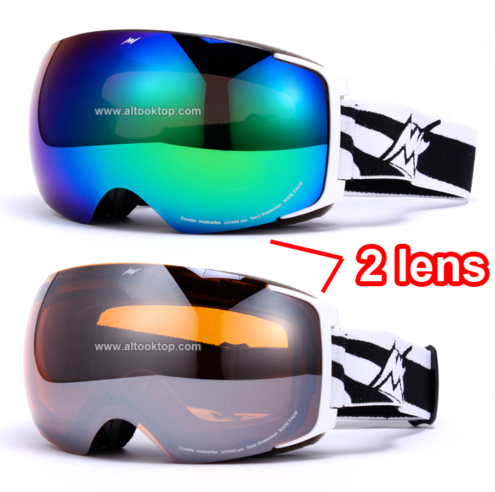 Day night vision replaceable 2 lens ski goggles spherical professional snowboard glasses snow eyewear snowmobile skiing