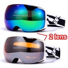 День и ночь видение сменные 2 линзы лыжные очки сферические профессиональные сноуборд очки лыжные очки снегоход лыжный googles
