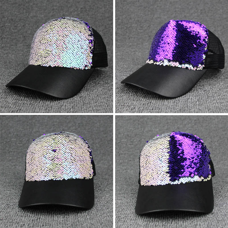 Summer Women Baseball Caps Sequins Mesh Cap Adjustable Fashion Hats Snapback Sports Floral Paillette Adjustable Summer Gorras cntang brand summer lace hat cotton baseball cap for women breathable mesh girls snapback hip hop fashion female caps adjustable