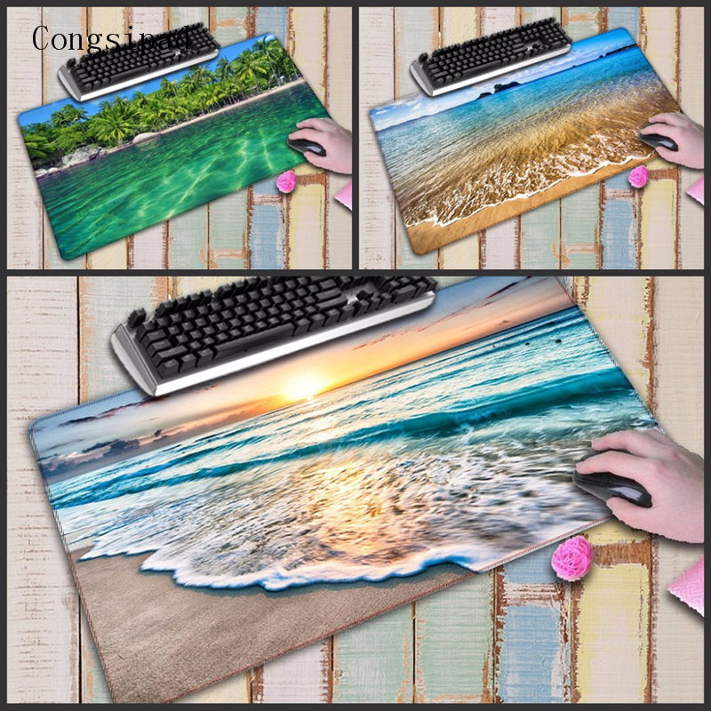 Congsipad Beach Wave Super Large Size Mouse Pad Natural Rubber Material Waterproof Desk Gaming Mousepad Desk Mats For Dota LOL