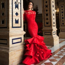 Abiye 2017 langarm-rote spitze abend dress für frauen pageant promi fischschwanz tiered layered rüschen satin prom kleider