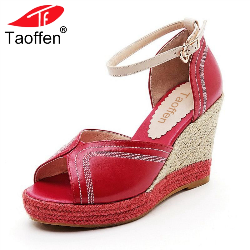 TAOFFEN Women High Heel Sandals Open Toe Ankle Strap Mixed Color Genuine Leather Women Shoes Stylish Party Footwear Size 34-39 stylish spaghetti strap solid color open back women s beach dress