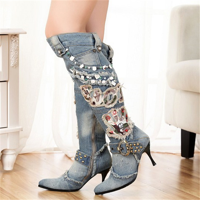 Hot Denim Embroider Side Zipper Pointed Toe High Heels Thin Heels Patchwork Short Plush Inside Knee High Boots Shoes Women Boots hot selling 2015 women denim boots pointed toe tassel patchwork knee high boots crystal thin high heels winter motorcycle boots