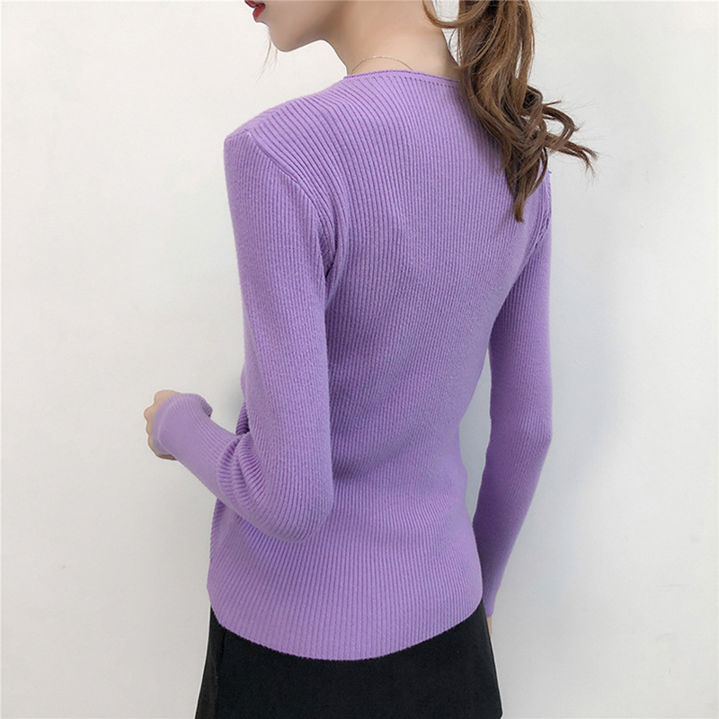 GOPLUS Autumn Winter Lace up Knitting Sweaters Women Sexy V Neck Slim Long Sleeve Elasticity Jumper Solid Pullovers Female Top 6