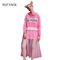 ELF SACK Hooded Women Lace Dresses Autumn Ruffle Printing Cute Long Sleeve Womens Dresses Mid Calf