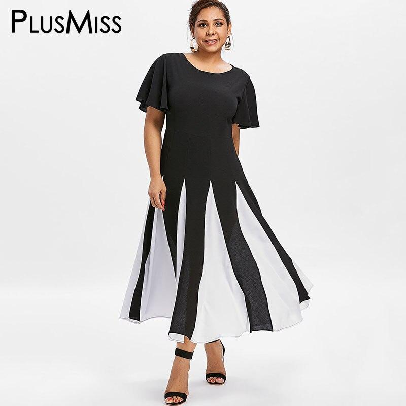 PlusMiss Plus Size 5XL 4XL Black and White Patchwork Chiffon Dress Women Bell Flare Sleeve Boho Beach Maxi Long Dresses Big Size