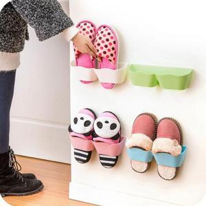 Wall Hanging Shoes Storage Holder Plastic Racks Stand Store Cabinet Door Shelter Household Living Room Rack Random Color