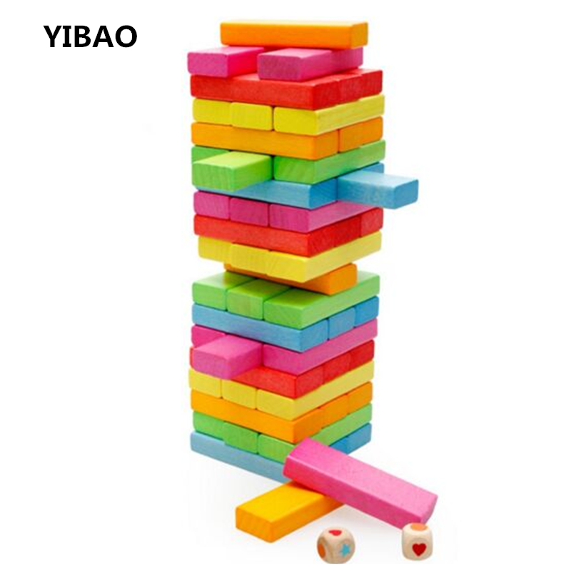 2017 New Jenga Wooden Tower Wood Building Blocks Toy Domino 54pcs +4pcs Stacker Extract Building Educational Game Gift for kids 54pcs children wooden tower wiss toys kids wood number building blocks christmas gifts educational toy fast shipping english
